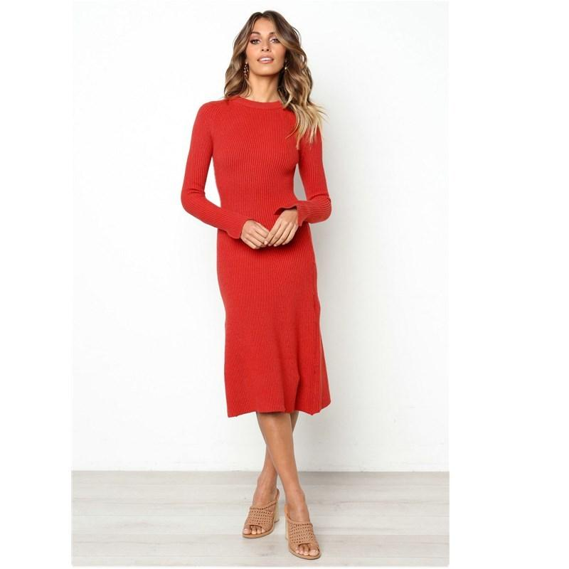 e41f6618e17c Good Quality Casual Autumn Women'S Dress 2019 Sexy Round Neck Long Sleeve  Bodycon Vintage Dress Women'S Midi Knitting Red Dresses Black And White  Dresses ...