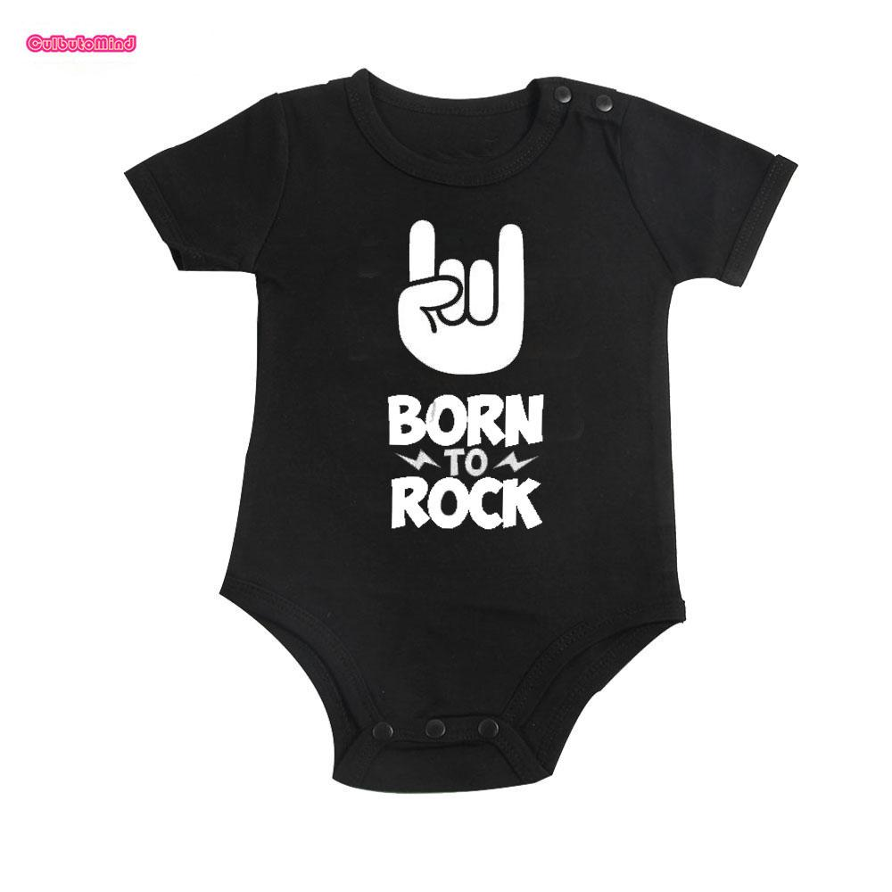 77817db65c 2019 Culbutomind Born To Rock Black Cotton Short Sleeve Baby Bodysuit Baby  Boys Girls Clothes Funny Clothing Newborn Shower From Jamani3