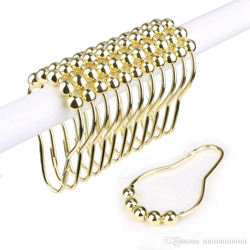 Gold Silver Rustproof Stainless Steel Shower Curtain Rings Hooks for Bathroom Shower Rod
