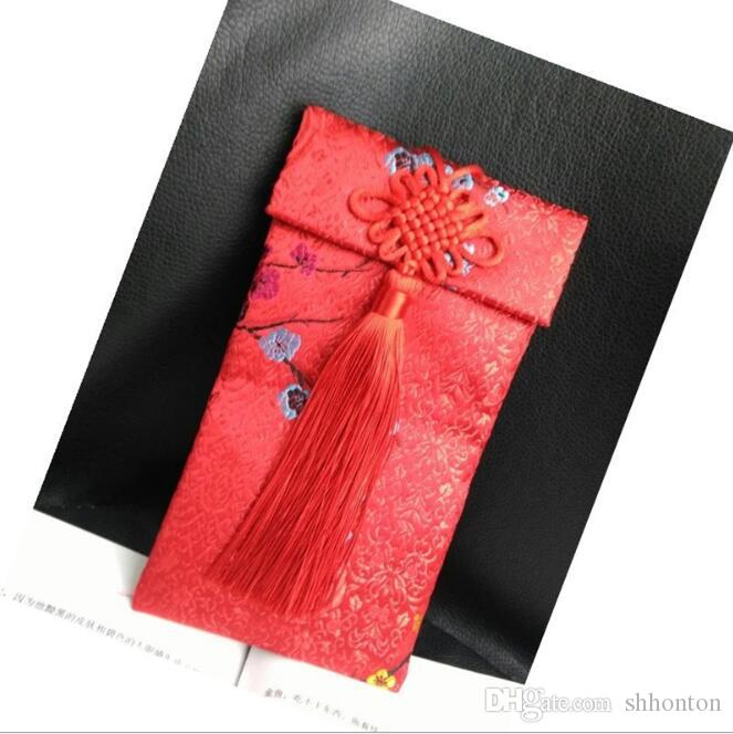 Chinese wind cloth art jewelry bag Wedding brocade cloth red envelopes wedding invitation bags size about 9.5*18cm FD14
