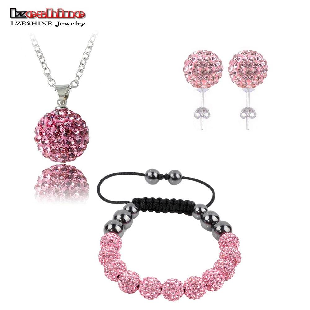 Fashion Crystal Jewelry Set Necklaces & Pendants/Bracelet/Earring Studs Jewelry Set With Disco Balls for Women SHSTImix1