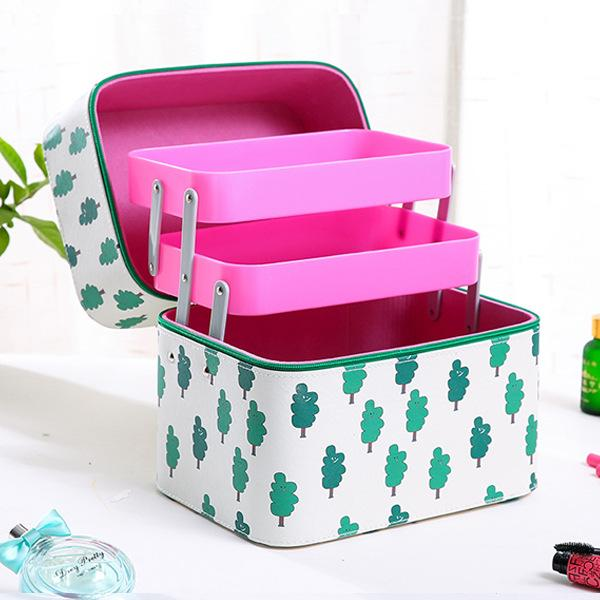 Epiphqny Brand Female Capacity Cosmetic Bag with 2 Layer Portable Functional Make Up Case Cute Pattern Printing Travel Storage