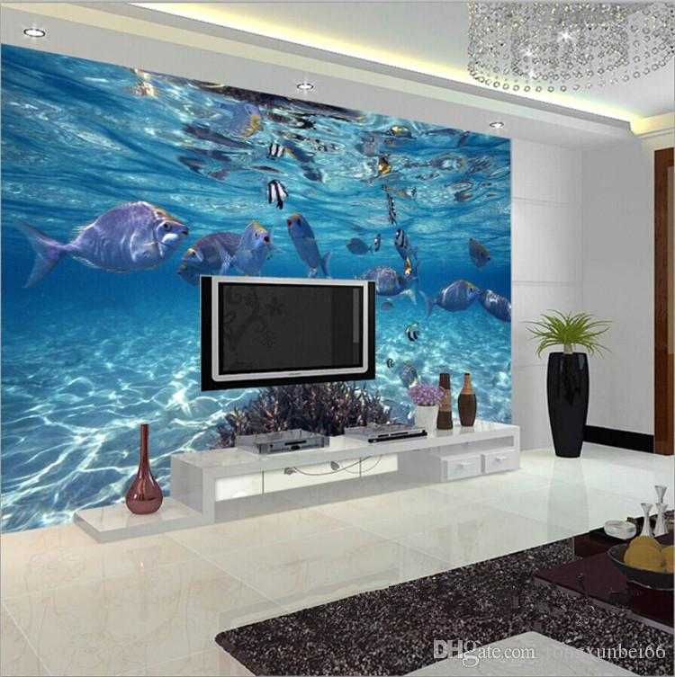 Custom Photo Wallpaper 3D Stereoscopic Underwater World of Marine Fish Children's room Bedroom TV background 3D Mural wallpaper Free ship
