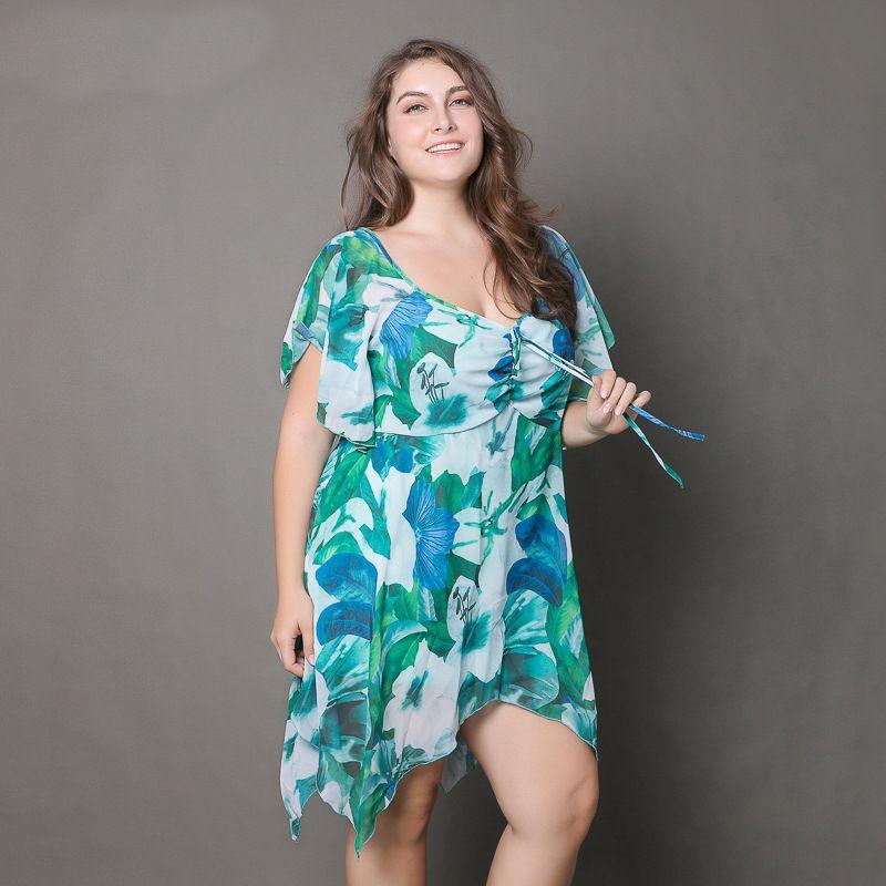 LE Euramerica Plus Size Hot New V 2XL3XL/4XL/5XL Printed Chiffon Dress  Female Plus Size Women Dresses Mujer Vestidos Patio Grande