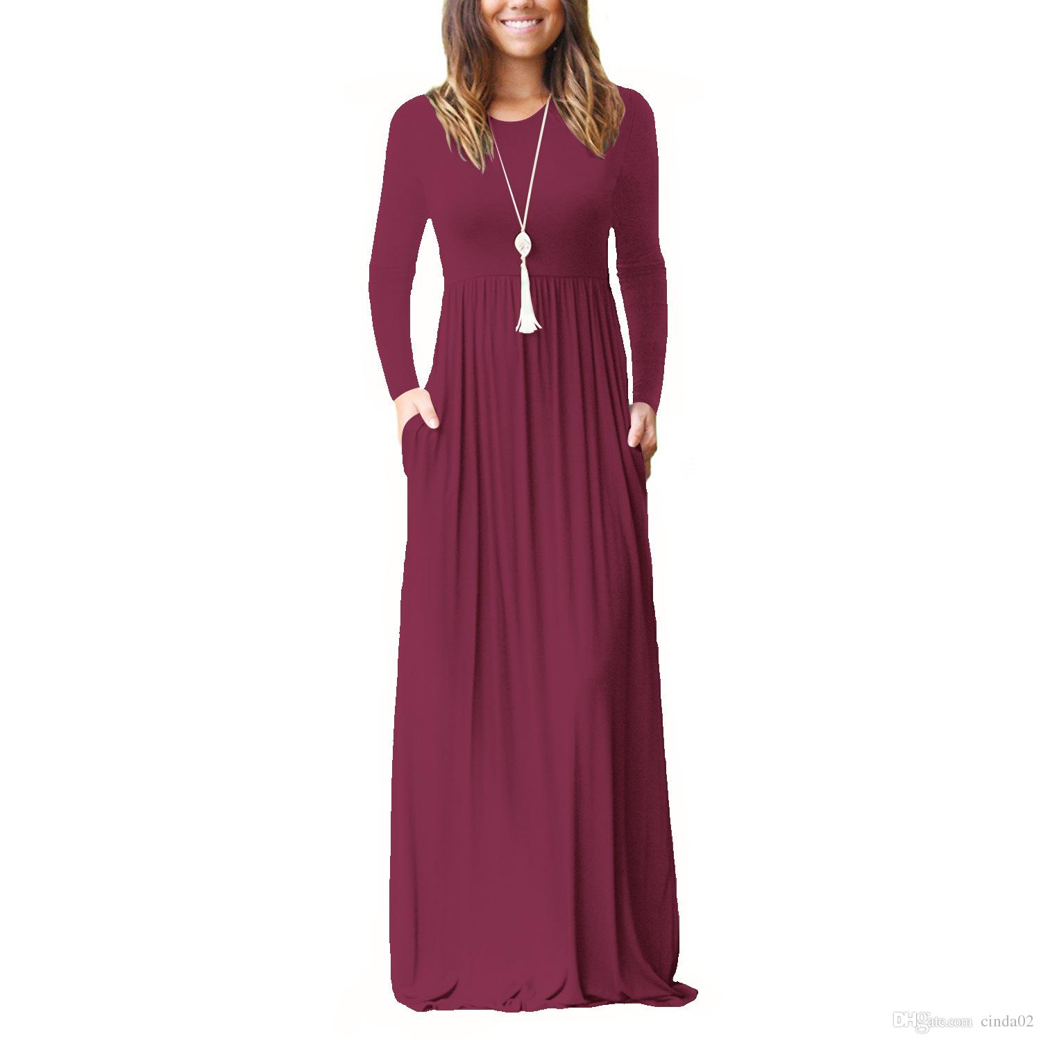 9485b7af3764 Maxi Casual Dress Women Fashion Loose Dresses Solid Long Sleeve Dresses  Round Collar Long Sexy Elegant Women Dress Purple Dress Special Occasion  Dresses ...