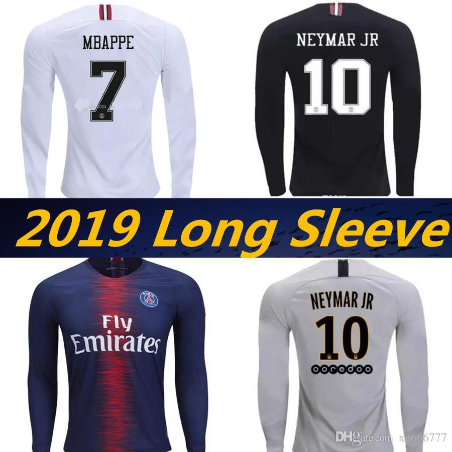 huge selection of a6de7 a13ef Maillot de foot PSG 18 19 Long sleeve MBAPPE Champions League White black  soccer jerseys 2019 CAVANI DANI ALVES jersey football shirt