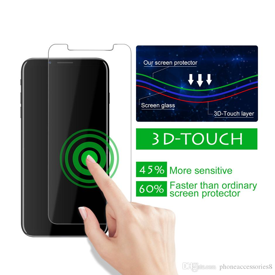 Front and back tempered glass phone screen protector for iphone 11 pro max xr xs x iphone 8 7 6 Plus glass film in one pack