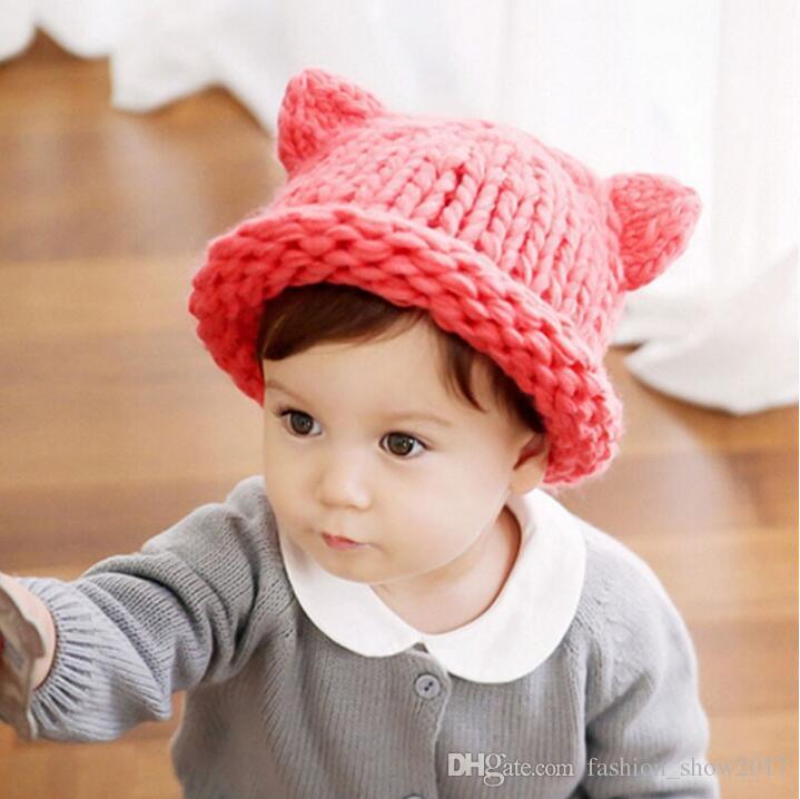 Hecho a mano de punto lindo bebé niña niño invierno sombrero orejas de gato diseño de dibujos animados encantador bebé sombrero patrón de ganchillo sombrero