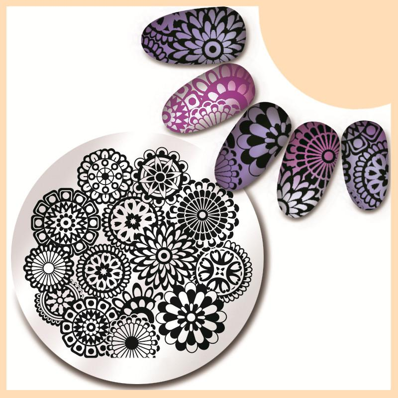 Pretty Floral Design Round Nail Art Stamp Template Paisley Image