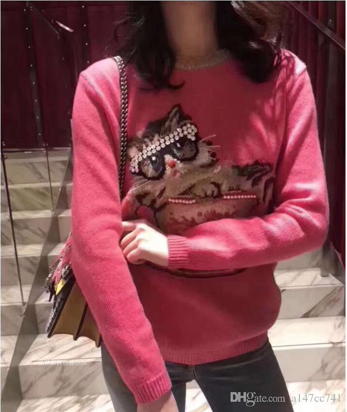 25bd59640 Compre Otoño Invierno Gato Prendas De Punto Rosa Suéteres De Moda De Mujer  Diseño Streetwear Suéter De Punto Mujer Jumper Pullover Pull Femme A  39.86  Del ...