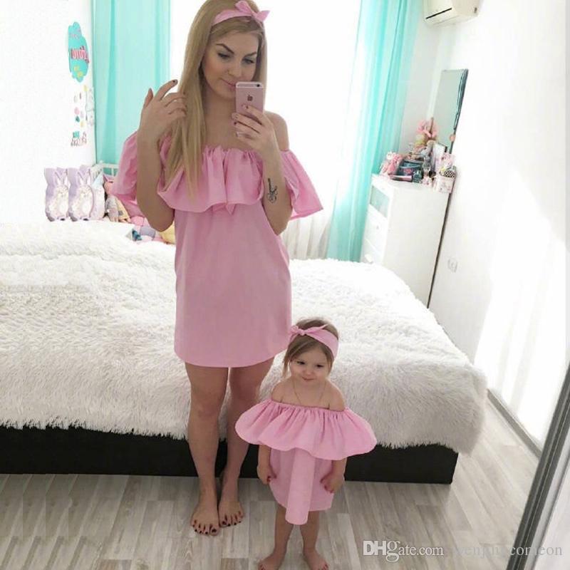 Mamma e figlia vestito la mamma Baby Famiglia Abiti di corrispondenza Mamma e me vestiti Moda famiglia Set Chiffon Dress Mother Kids