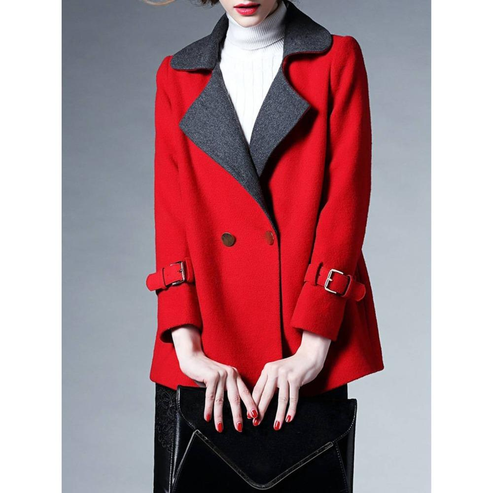 367d9d329182 2019 2018 Lady Women Warm Tweed Jacket Cashmere V Neck Notched Collar Color  Block Overcoat Casual Red Single Pocket Button Wool Coat From Yigu003