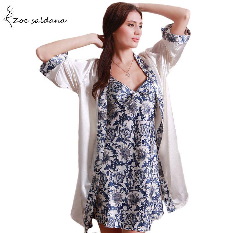 c24dbea1f 2019 Zoe Saldana 2017 Nightgown Robe Sets Women Short Sleeve Silk Sleepwear  Print Dress Two Piece Set Sexy Bathrobe From Hoto