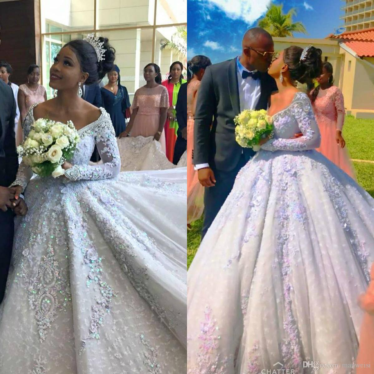 Saudi Arab Design Asymmetrical Wedding Dresses Scoop: Sparkly Lace Ball Gown Wedding Dresses 2019 New Style