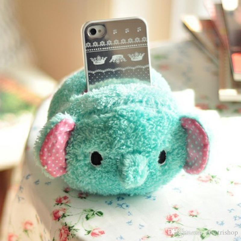 Gift Kawaii Elephant rabbit Plush Phone Holder Cell Phone Seat Toys fit all smart phone mount lower price E413