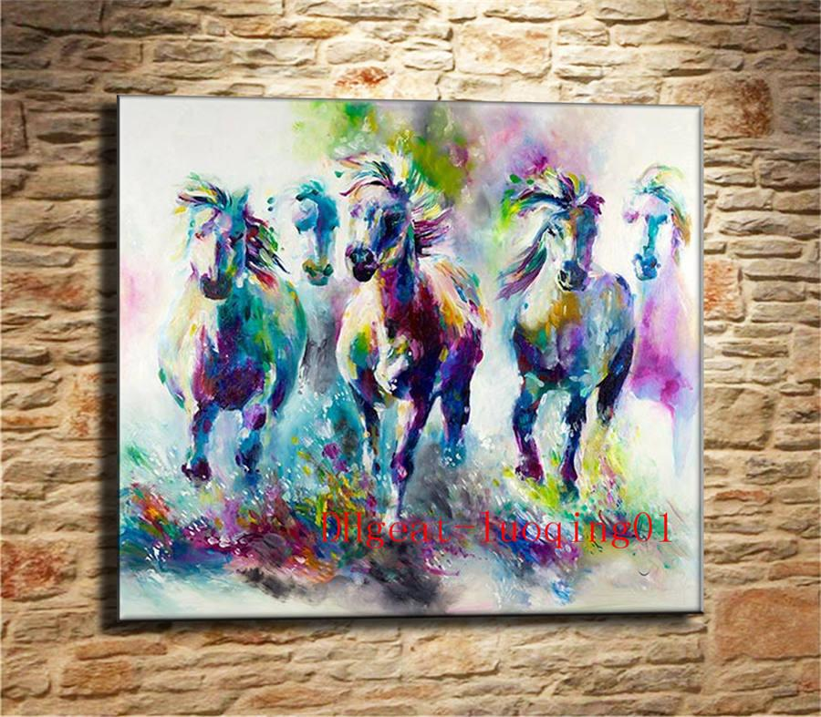 2018 Watercolor Running Horse , Canvas Pieces Home Decor Hd Printed ...
