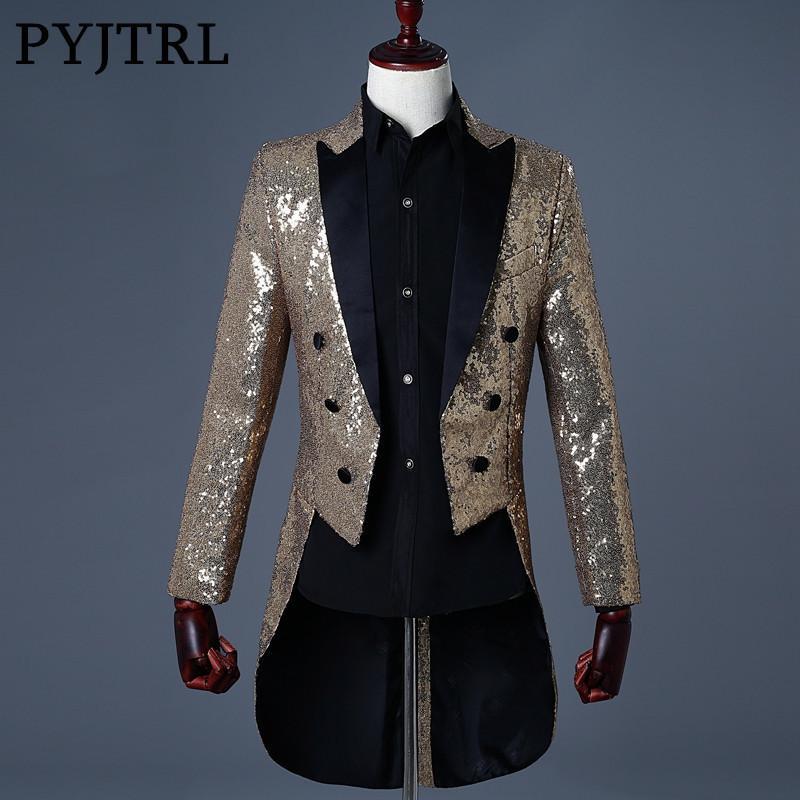Acquista PYJTRL 2018 Uomo Oro Argento Rosso Blu Nero Con Paillettes Slim Fit  Tailcoat Stage Cantante Abiti Da Ballo Costume Da Sposa Groom Suit Jacket A  ... 004a8c759d3