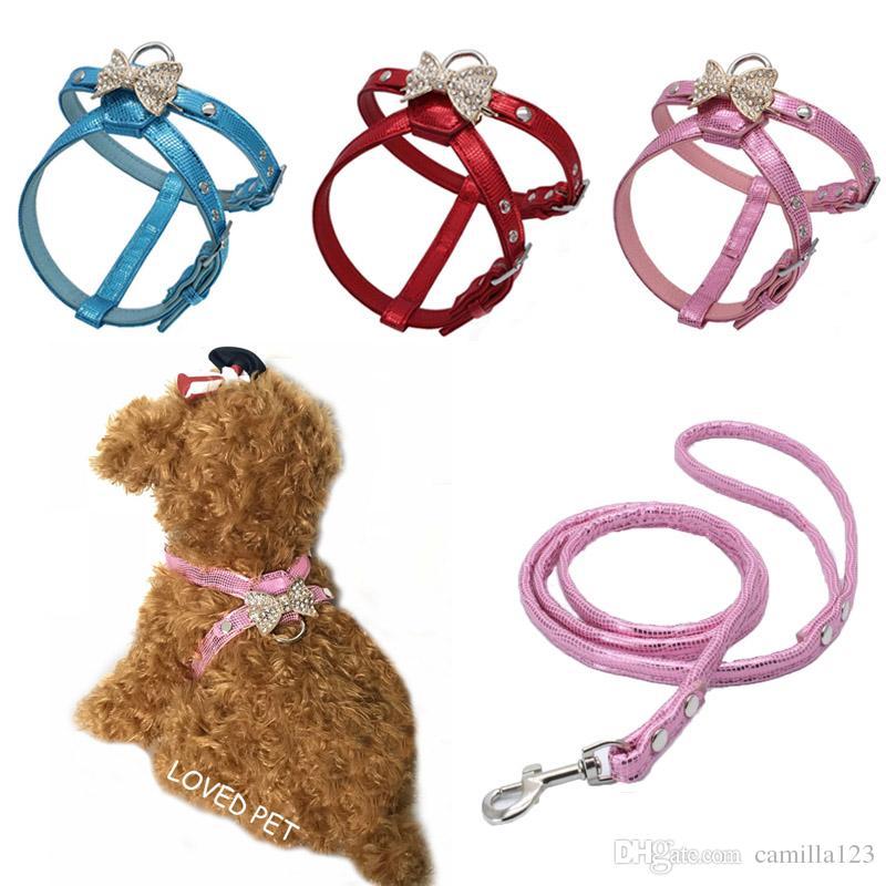 Soft leather diamond beautiful dog collar harness set yorkie beagle doggy  breast-band puppy belt leash small dog harnesses XS S