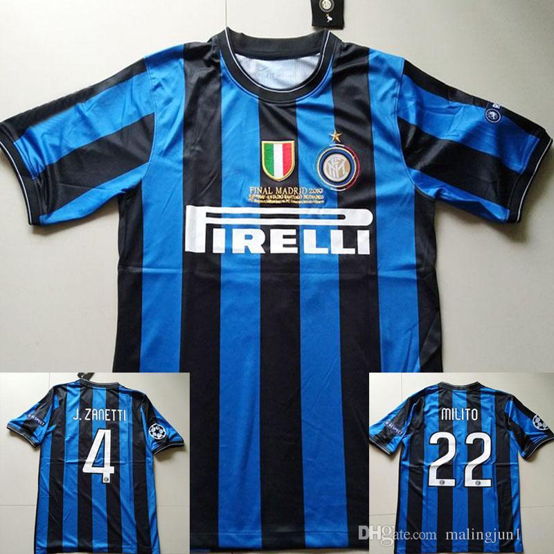 09 10 Inter Milito J.Zanetti Retro Soccer Jersey 2009 2010 Milan ... d4e7fbab35533