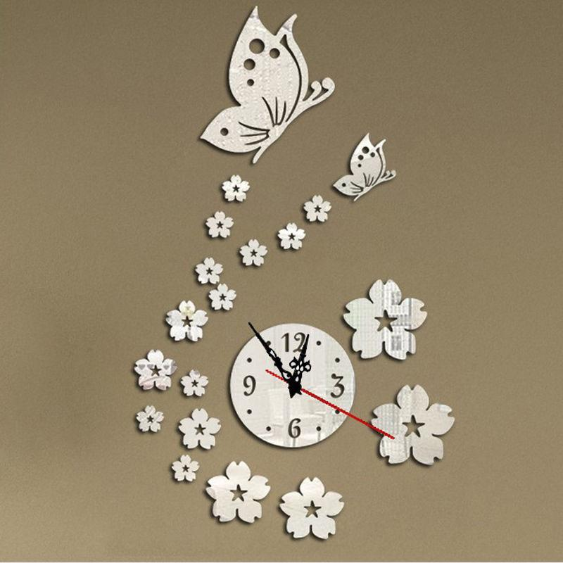 modern diy butterfly flower wall clock sticker 3d mirror surface art