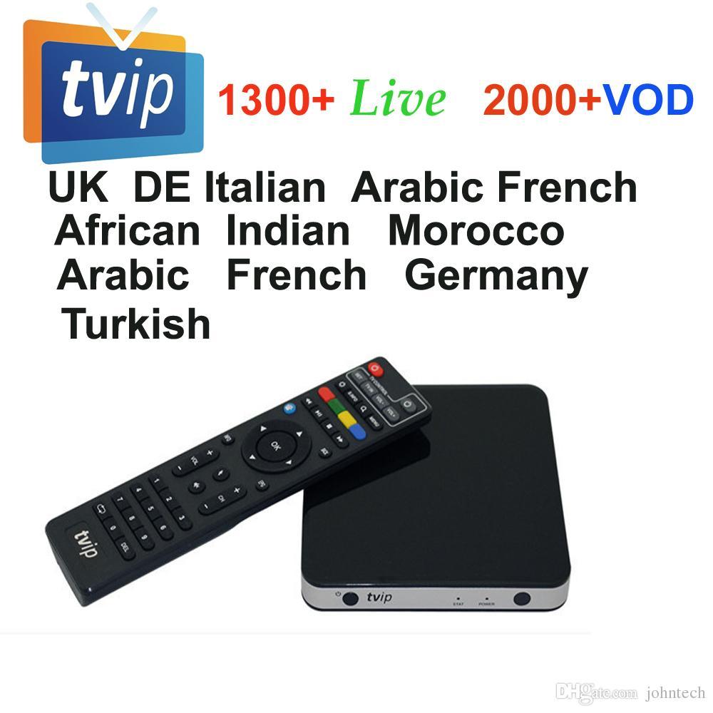 Super streaming arabic iptv set top box TVIP 605 Android/Linux AmlogicS905  2018 World Cup 1300 channels H 265 UK Spain Europe IPTV MAG250