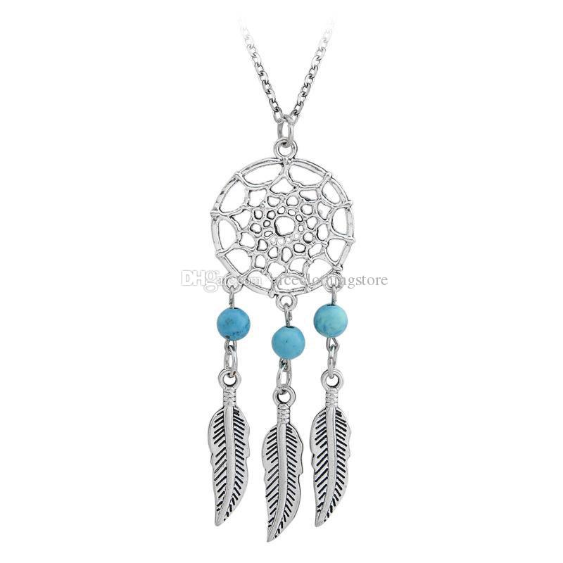 Antico argento indiano Dream catch Nappa Pendente Collana di piume Collane le donne Hope Turchese Dreamcatch Jewelry Gift