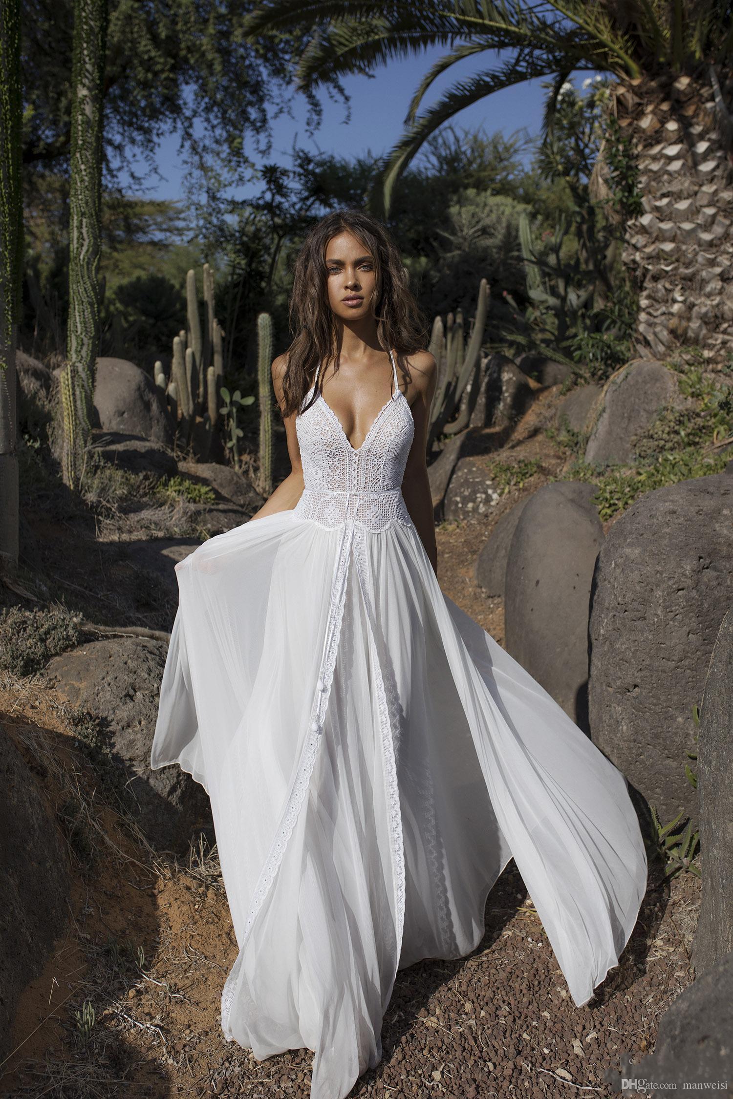 Asaf Dadush 2019 Vestidos De Casamento Com Manga Longa Envoltório Jaqueta De Crochê Do Vintage Lace Fada Flowy Chiffon Praia Boho Nupcial Vestidos De Casamento