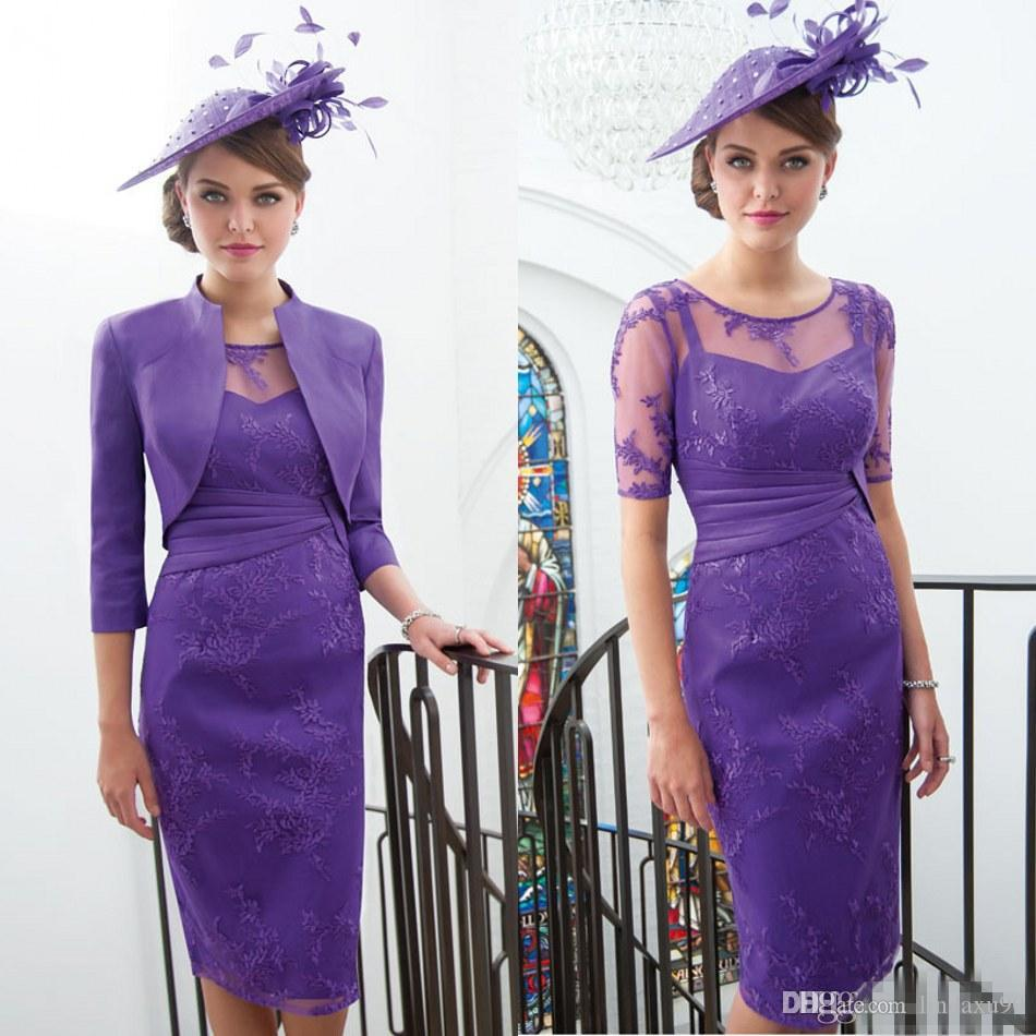 Chic Purple Mother Of The Bride Dresses Sleeves Appliqued Formal Dress With  Jacket Pleated Wedding Guest Knee Length Mother Groom Gowns Pink Mother Of  The ... 6a68b2144d46