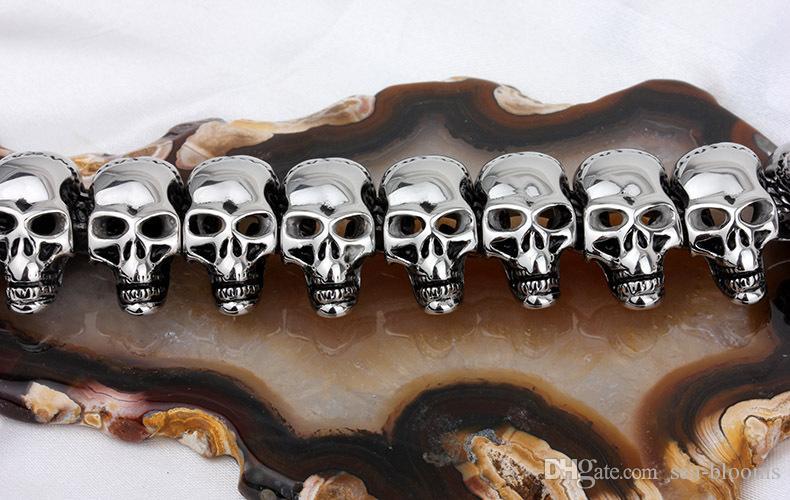 2018 Mens Gothique Grand Crâne Lourd Pendentif 361L En Acier Inoxydable Collier Argent Pendentif Cou Ami Cadeau Soutien FBA Drop Shipping G833R