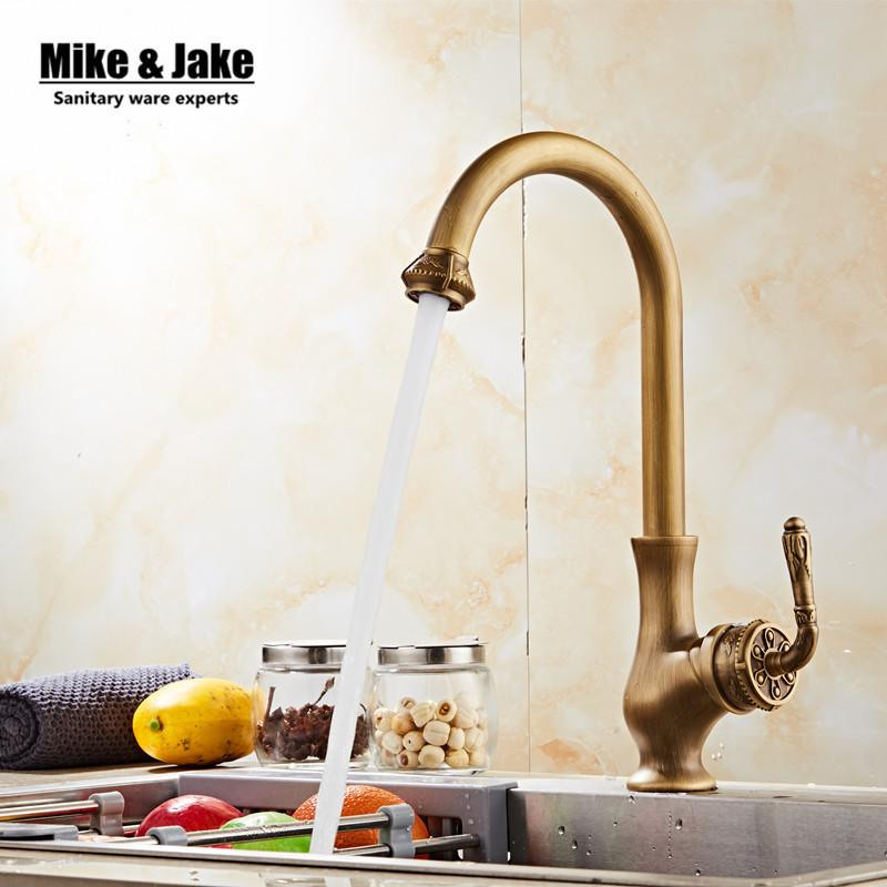 Online Cheap Antique Brass Kitchen Mixer Faucet Vintage Kitchen Sink ...