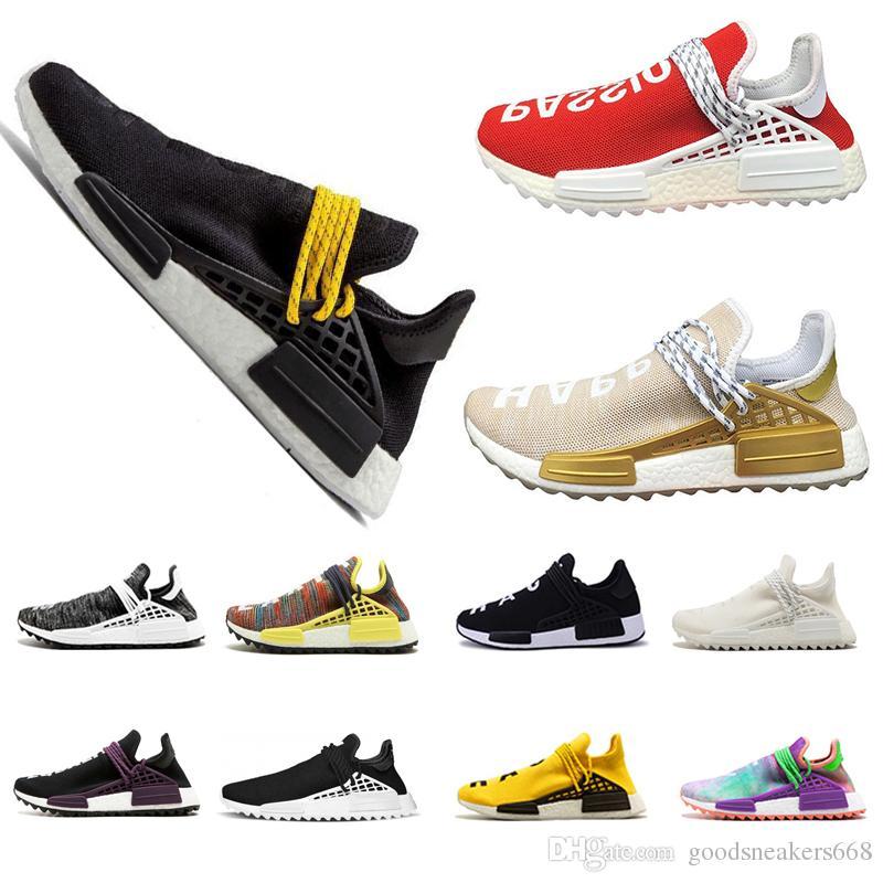 2019 MENS running Shoes Human Race Pharrell Williams HU X Holi cream yellow white Women Men Sports Shoes Athletic man Shoes discount trainer
