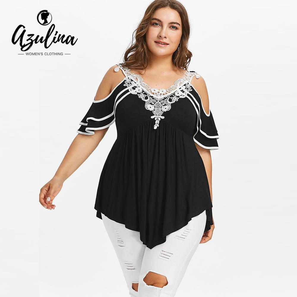 fc75ed3d69f73 AZULINA Plus Size Layered Cold Shoulder Women T Shirt Half Buerfly Short  Sleeve Top Summer Lace V Neck Casual T Shirt Clothing As Tee Shirts T Shirts  ...