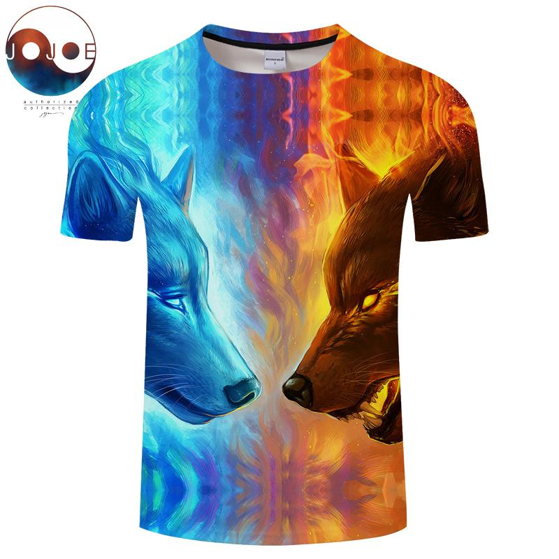 9f29c07048 Fire And Ice Wolf By JojoesArt Printed T Shirts 3D Men T Shirts Funny Short  Sleeve Summer Tops Tees Male Quality Hot Sale Tshirt Shirt Design Tees From  ...