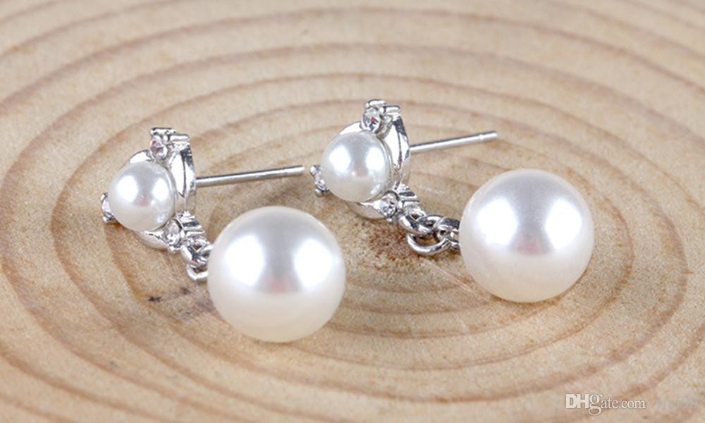 Pareja de moda bola de imitación de perlas de cristal blanco chapado en oro gota cuelga los pendientes del regalo de la joyería del compromiso de las mujeres