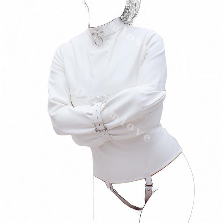 0bdf7b2aea 2019 Womens Creamy White Straight Jacket For Medical Play Faux Leather  Kinky Fantasy Straitjacket Top Fetish Gimp Role Play Costume From Beke