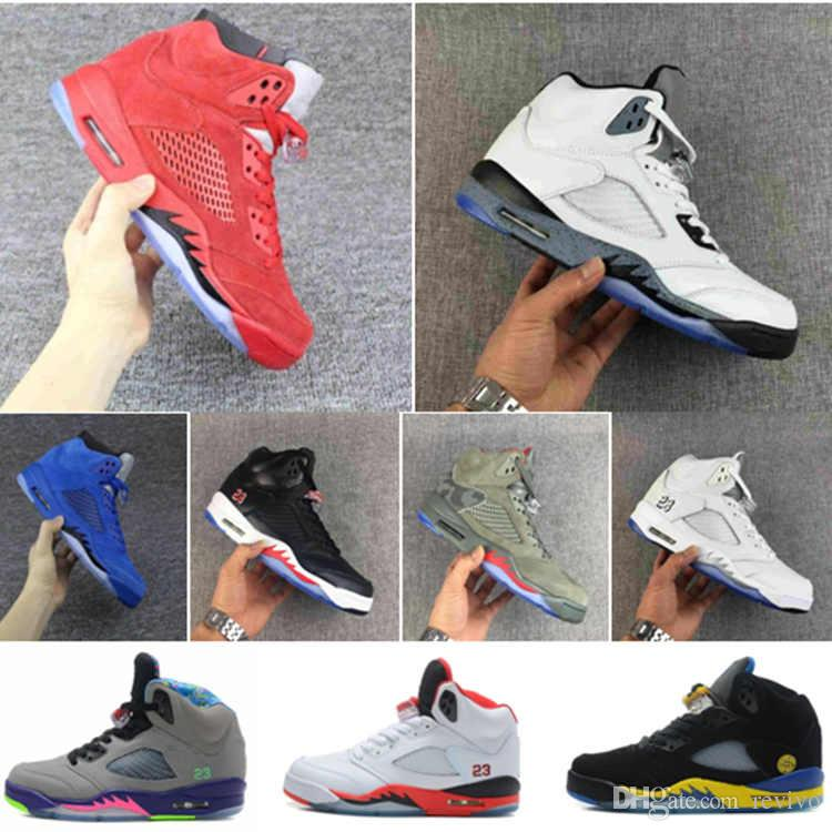 5 Basketball Shoes for kids boys 5s Blue Suede Red Suede Athletic shoes 2018 Children Athletic Sneaker Big kids size 7-13