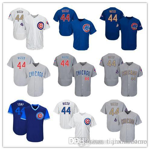 best sneakers 00a82 c2b62 2016 Men Women Youth Cubs Jersey 44 Rizzo Jersey White Gray Grey Blue Gold  Green Salute to Service Players Weekend All Star