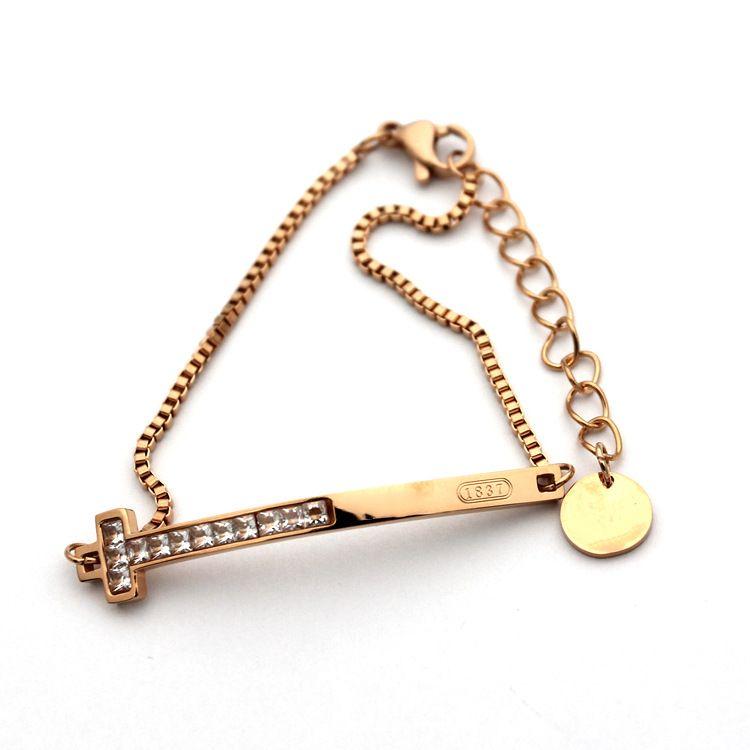Wholesale and foreign trade hot titanium steel bracelet T - band diamond bracelet 18K gold brand bracelet accessories