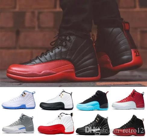 2fceea2941ee2b 2019 12 12s Basketball Shoes Bordeaux Dark Grey Wool White Flu Game UNC Gym  Red Taxi Gamma French Blue Suede Sneaker Sports Size 7 13 From Retro12