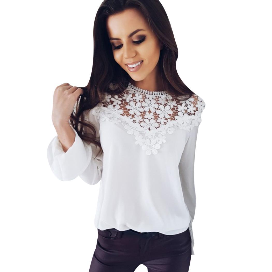 d7f130cc1648 Otoño 2018 Blusa Mujer Encaje de manga larga para mujer Blusa de gasa Femme  Camisa Blusas de mujer Camisas Crochet Blusas Mujer Q4