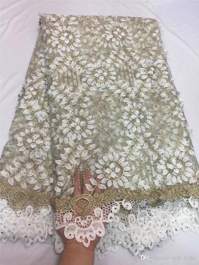 Nigerianische französische Spitze 2018 bestickte Tüllspitzegewebe mit Steinen für freies Verschiffen des Hochzeitskleides