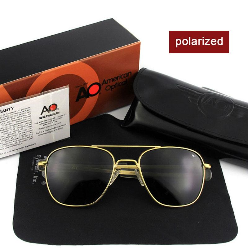 Compre Moda De Alta Qualidade Da Marca Designer De Óculos De Sol Dos Homens  Do Exército Americano Piloto AO Óculos De Sol Masculino Lente De Vidro ... e66a2d86b0