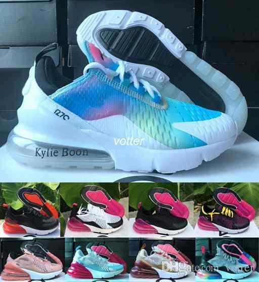 wholesale dealer dbb7a dabfe Compre 2018 Nuevo 270 Rainbow Pink Running Shoes For Women Plastic Training  Deportes Al Aire Libre Para Mujer Suela De Aire 270s Zapatillas De Deporte  ...