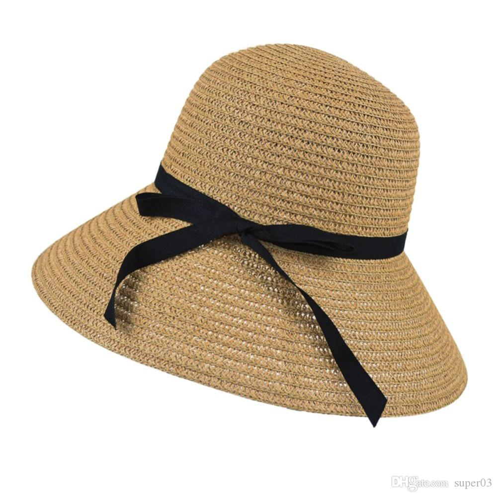 794bcc82a05c7 Hot New Fashion Summer Casual Women Ladies Wide Brim Beach Sun Hat Elegant  Straw Floppy Bohemia Cap For Women Dating Hat World Ladies Hats From  Super03