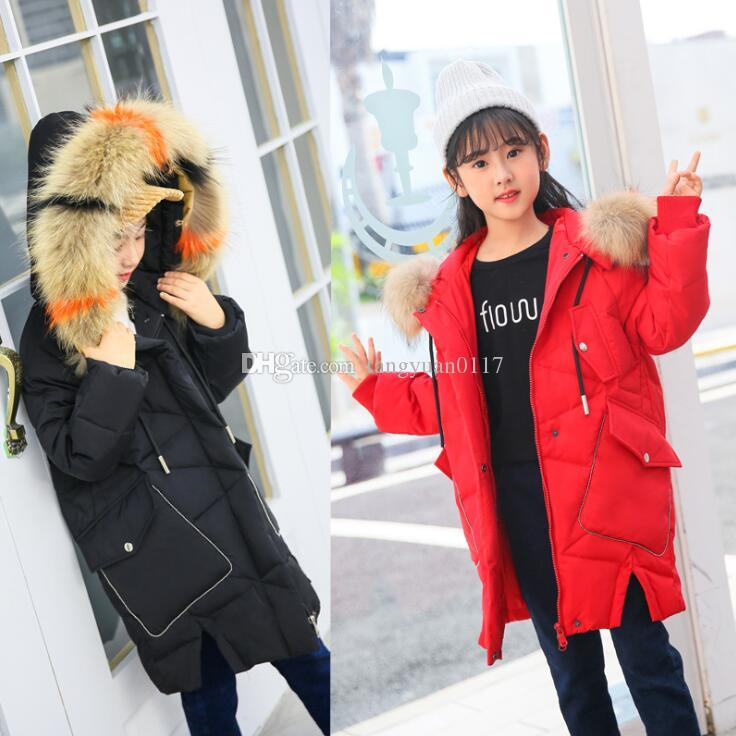 1ce412528 Fashion Winter Girls Thicken Down Jackets Kids Color Big Fur Collar ...