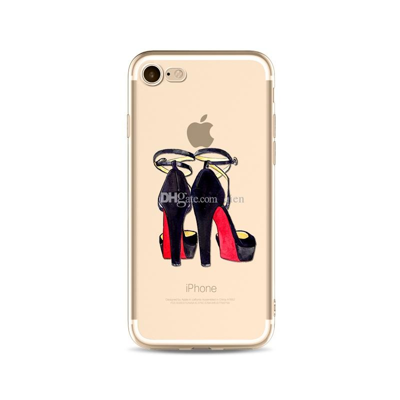 High-Heeled Shoes Printing Painting Phone Soft TPU Gel Clear Transparent Case For iPhone X 5 5S 6 6S 7 8 Plus DHL Free