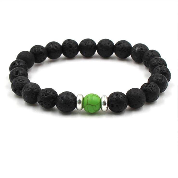 10 Renkler 8 MM Siyah Lava Taş DIY Aromaterapi Uçucu Yağ Difüzörü Bilezik Kadın Erkek Yoga Takı Için