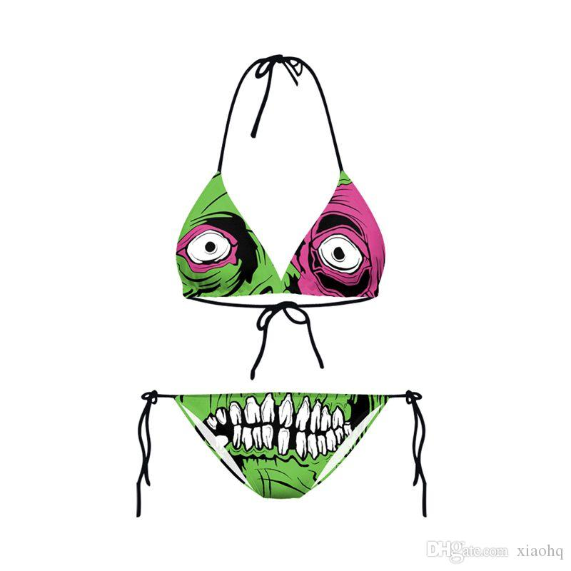 New Design Fashion Girl Summer Green Big Eyes Monster 3D Prints Thongs Ropes Bikini Set Swimsuit Swimwear Women Bathing Suit
