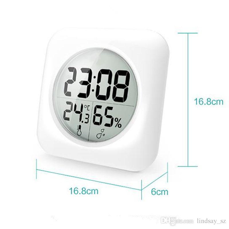 Mode Weiß LCD NEUE Wasserdichte Dusche Badezimmer Wanduhr Temperatur Thermometer Hygrometer Meter Gauge Monitor Luftfeuchtigkeit schnell