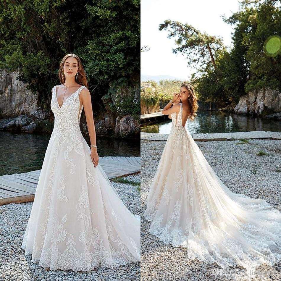 a5065309ec1 Discount 2019 Sexy Deep V Neck Plus Size Boho Beach Bohemian Wedding Dresses  Lace Applique Illusion Back Wedding Dress Bridal Gowns Vestidos De Novia ...